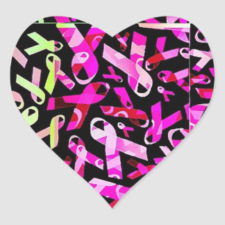 Funky Breast Cancer Ribbons Heart Sticker
