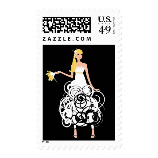 Funky Bride postage stamps