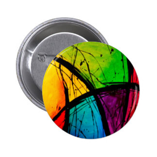 Funky Bright Abstract Art Painting Button