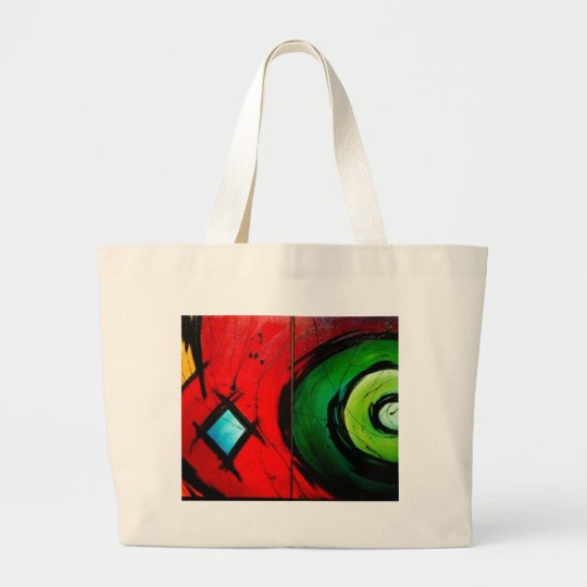 Funky Bright  Abstract Art Painting Large Tote Bag