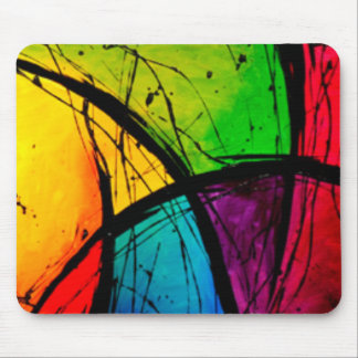 Funky Bright Abstract Art Painting Mouse Pad