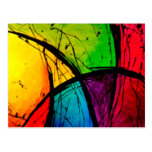 Funky Bright Abstract Art Painting Post Cards