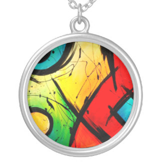 Funky Bright Abstract Art Painting Round Pendant Necklace