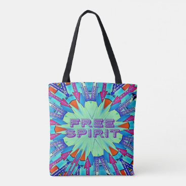 "Beach Themed Funky Bright Arrows Point To ""FREE SPIRIT"" Tote Bag"