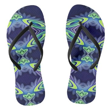 Beach Themed Funky Bright Artistic Abstract Summertime Fashion Flip Flops
