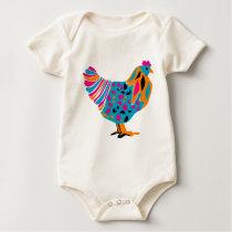 Funky Bright Chicken Baby Bodysuit