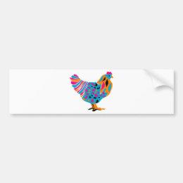Funky Bright Chicken Bumper Sticker