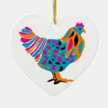 Funky Bright Chicken Ceramic Ornament