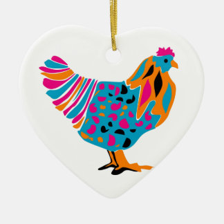 Funky Bright Chicken Double-Sided Heart Ceramic Christmas Ornament