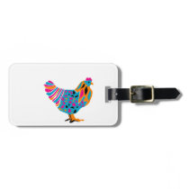 Funky Bright Chicken Luggage Tag
