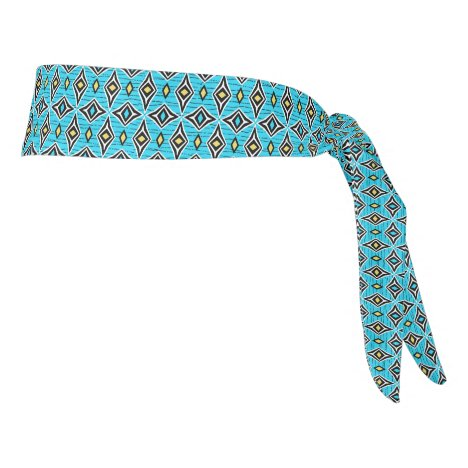 Funky bright colorful blue yellow boho tie headband