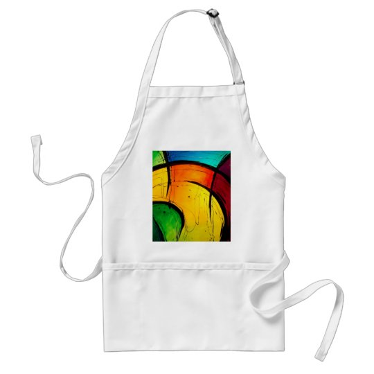 Funky Bright Colors Abstract Art Adult Apron