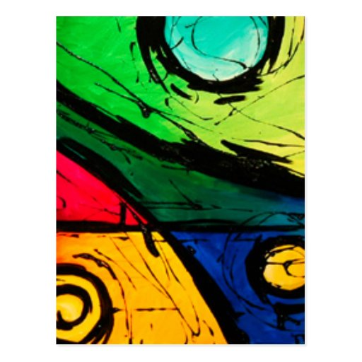 Funky Bright Colors Abstract Art Postcard