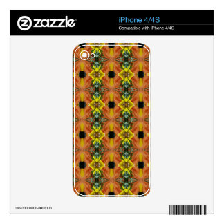 Funky Bright Fall Oranges Yellow Tribal Pattern Decal For iPhone 4