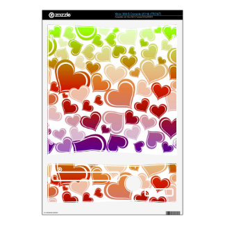 Funky Bright Hearts Pattern Decals For Xbox 360 S