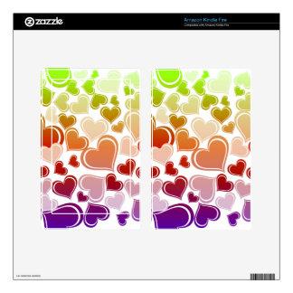 Funky Bright Hearts Pattern Kindle Fire Skin