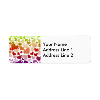 Funky Bright Hearts Pattern Label