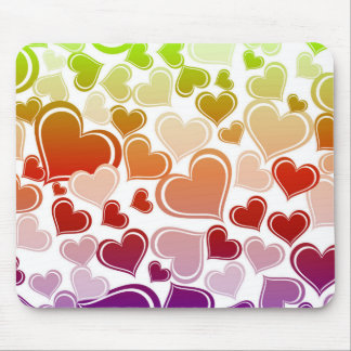 Funky Bright Hearts Pattern Mouse Pad