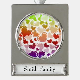 Funky Bright Hearts Pattern Silver Plated Banner Ornament