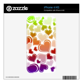 Funky Bright Hearts Pattern Skin For The iPhone 4