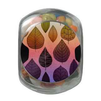 Funky Bright Leaf Design Jelly Belly Candy Jar