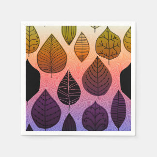 Funky Bright Leaf Design Standard Cocktail Napkin
