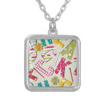 Funky Bright Letters with Patterns Custom Necklace
