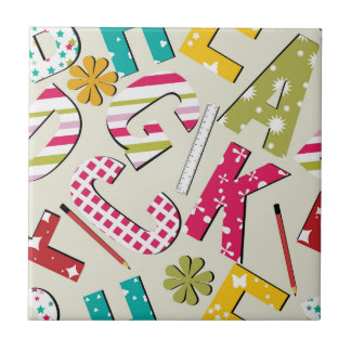 Funky Bright Letters with Patterns Tile