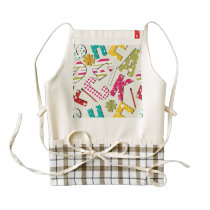 Funky Bright Letters with Patterns Zazzle HEART Apron