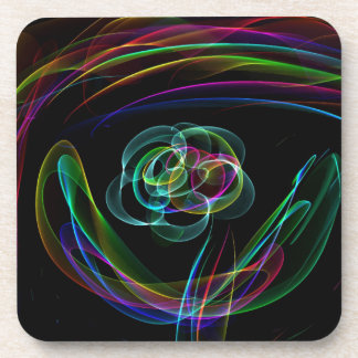 Funky Bright Neon Rainbow Over flower Color Sketch Coaster