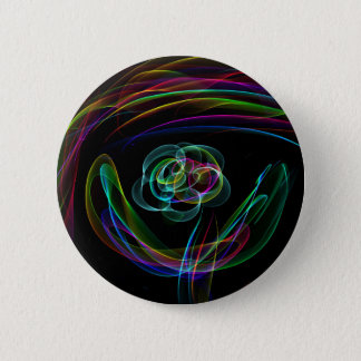 Funky Bright Neon Rainbow Over flower Color Sketch Pinback Button