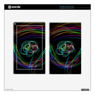 Funky Bright Neon Rainbow Over flower Color Sketch Skins For Kindle Fire