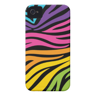 funky bright rainbow and black zebra pattern iPhone 4 case