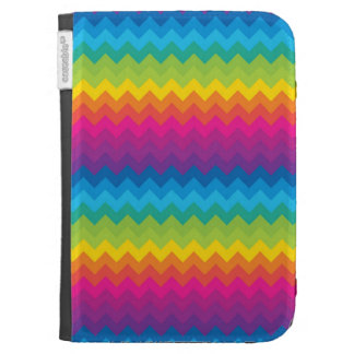 funky bright rainbow chevron zigzag pattern cases for kindle