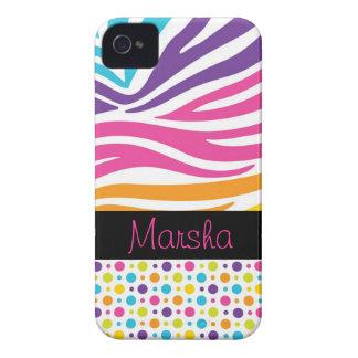 funky bright rainbow stripes white zebra dots iPhone 4 Case-Mate case