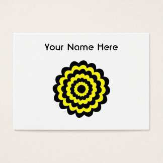 Funky bright yellow and black flower. business card