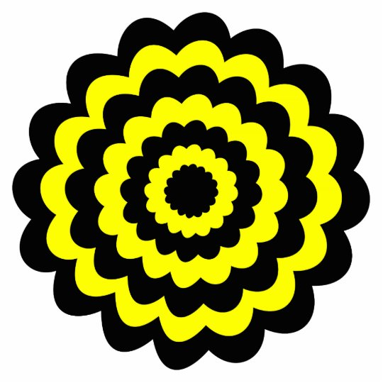 Funky bright yellow and black flower. cutout