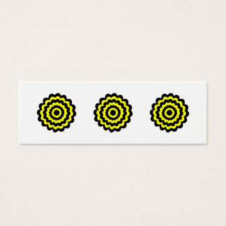 Funky bright yellow and black flower. mini business card