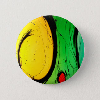 Funky Bright  Yellow & Green Abstract Art Button