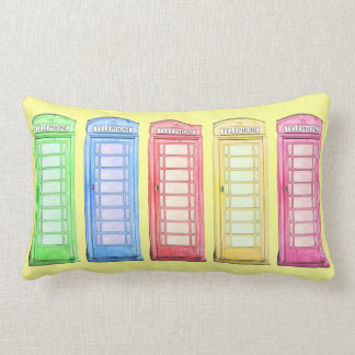 Funky British phone booth - colors toss pillow