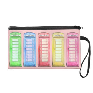Funky British telephone booth - colors Wristlet