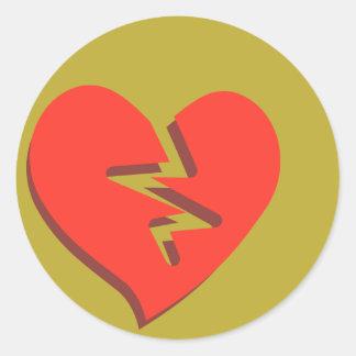 Funky Broken Heart Classic Round Sticker