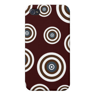 Funky Brown Blue White Retro Circles Design iPhone 4/4S Cases