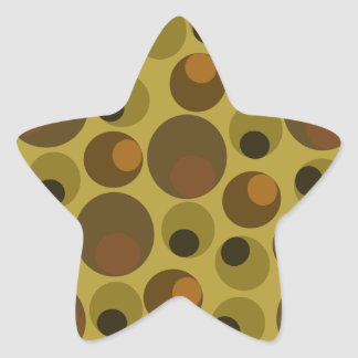 Funky Brown dots Star Sticker