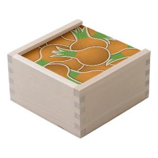Funky brown onions wooden keepsake box
