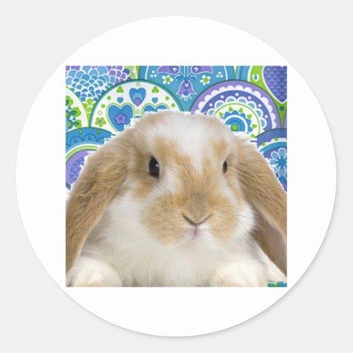 Funky Bunny Round Stickers