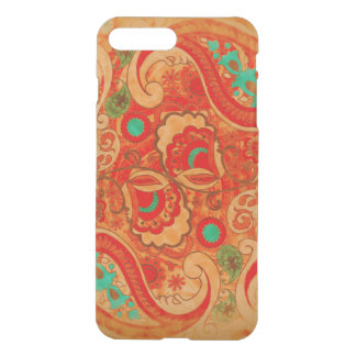 Funky Burnt Orange Red Turquoise Vintage Paisley iPhone 8 Plus/7 Plus Case