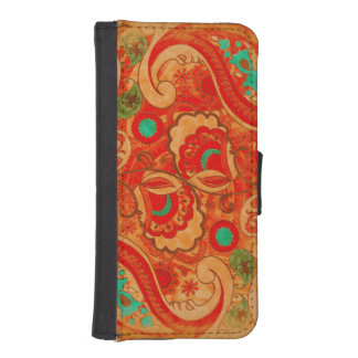 Funky Burnt Orange Red Turquoise Vintage Paisley iPhone SE/5/5s Wallet Case