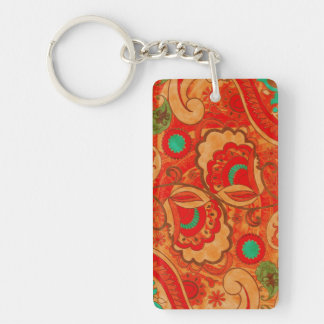 Funky Burnt Orange Red Turquoise Vintage Paisley Keychain