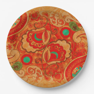 Funky Burnt Orange Red Turquoise Vintage Paisley Paper Plate